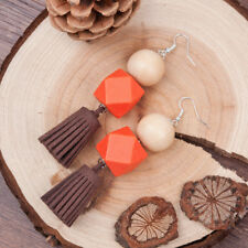 Orange Brown & Tassel Earrings Natural Wood Ball Square Cube Silver Plated Hooks