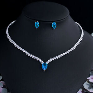 Light Blue CZ Crystal Women Necklace Stud Earrings Set for Wedding Party Jewelry
