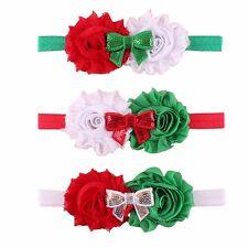 3pcs Baby Girl Flower Bands Christmas Chiffon Flower Headbands Head Wear