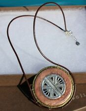 """& Leather Necklace~N3341 Silpada~""""Copper Compass"""" Sterling Silver,Brass,Copper"""