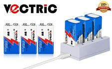 9V Rechargeable Li-ion Battery 800mAh VECTRIC 6 Packs with Smart Charger Lithium