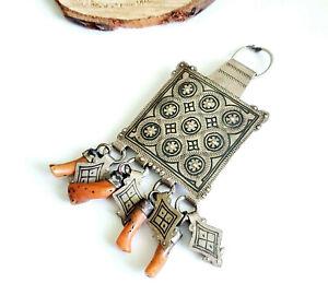 Antique Berber Silver enamel Natural coral Amulet Pendant,moroccan Amulet