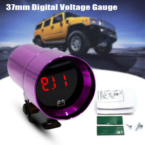 37mm CNC Car Micro Digital Voltage Gauge Red LED Smoked Lens Volt Kits Purple