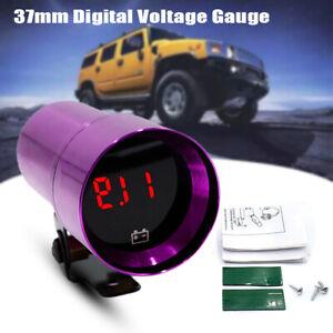 37mm CNC Car Micro Digital Voltage Gauge Red LED Smoked Lens Volt Kits Purple