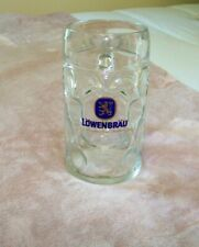 """Lowenbrau 8"""" Tall Dimpled Glass Beer Stein/Mug Red Tongued Lion From Austria"""