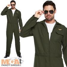 Aviator Jumpsuit Mens Fancy Dress 80s Airforce Pilot Uniform Adults Costume