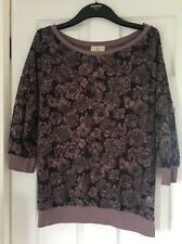 NEXT Purple & Grey Floral Netted Jumper Size 12