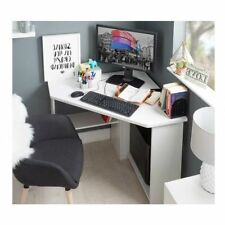 Corner Computer Desk White Wooden Small Table Study Workstation Laptop Desktop