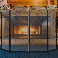 VIVOHOME Large Folding Fireplace Screen 4 Panel Fire Guard Shield Iron Fence NEW