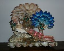 Folk art sea shell sculpture / ornament peacocks