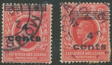 EAST AFRICA AND UGANDA PROTECTORATES 1919 George V 4 Cents on 6 C TWO VARIETIES