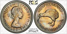 1965 New Zealand One Florin Pcgs Ms65 Color Toned Coin! Very Nice!