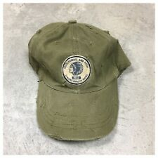 ABERCROMBIE & FITCH 90s VTG Leather Strapback Hat DISTRESSED INDIAN Logo Relaxed