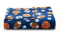 Fleece Throw Blanket Sports Balls on Dark Blue 50x60 St Nicholas Sq NWT