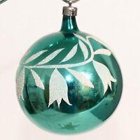 Christmas Ornament Glass CZECH REPUBLIC Ball Floral SNOWDROP Blue USA SELLER