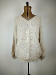 Modern Rarity Ladies V neck Wool blend Jumper Small PtoP:60cms L:63cms