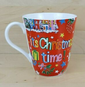 CATH KIDSTON IT'S CHRISTMAS TIME! RED FINE CHINA MUG CUP EXCELLENT CONDITION