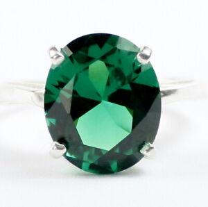 SR055 925 Sterling Silver Ladies Ring Russian Nanocrystal Emerald