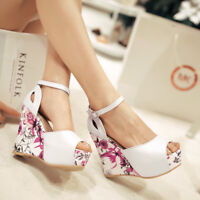 Womens Wedge Super High Heels Sandals Platform Peep Toe Buckle Party Dress Shoes