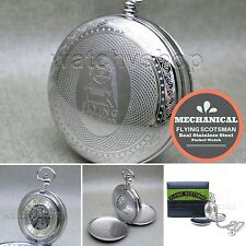Flying Scotsman STEEL Mechanical Pocket Watch Silver Skeleton with Chain Box C2