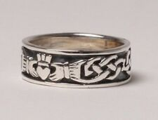 Irish Handcrafted Gents Silver Cladagh Ring Band Size 9