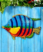 Colorful Tropical Fish Metal Wall Art Hanging Sculpture Indoor/Outdoor Decor