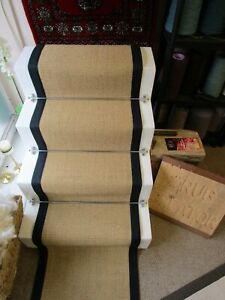 50cm Wide Gold Natural Beige Sisal Stair Runner Black Herringbone Tape Border