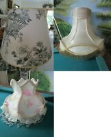 VINTAGE PARLOR TABLE LAMP SHADES BEADS SILK FRINGE  VICTORIAN MID CENTURY