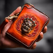 Handmade Mens Genuine Leather Clutch Wallet Zipper Money Card Purse With Chain