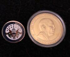 Obama Pin Biden 2009 Inauguration + Coin President Gold Enamel Pres Collectible
