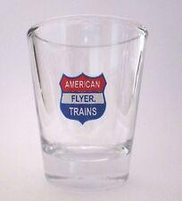 American Flyer Trains Logo on Clear Shot Glass