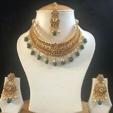 GREEN GOLD INDIAN MUGHAL KUNDAN JEWELLERY NECKLACE EARRINGS CRYSTAL SET NEW 326