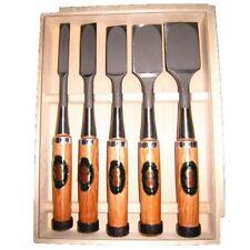"Set of Five Japanese bench chisel ""NOMIKATSU"" Red Oak Handle Carpenter tool NOMI"