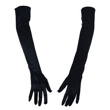 "21"" Women Arm Long Satin Elbow Gloves for Evening Wedding Costume Black I5F5"