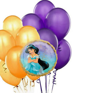 """Disney Princess Jasmine Once Upon Time 18"""" Foil Balloon Bouquet Purple/Gold NEW"""