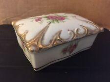 Vintage Rose China Trinket Box Made In Occupied Japan
