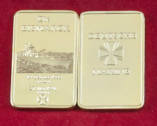 Die Bismarck Marins Krieg (Guerre) Navire 1 once Barres de Médaille 999 doré WK2