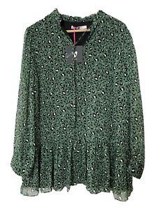 V by Very Green Animal Cheetah Print Mini Dress / Tunic Top Size UK 14 BNWT