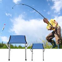 2PCs Blue Portable Folding Stool Camping Chair Outdoor Hiking Fishing Beach Seat