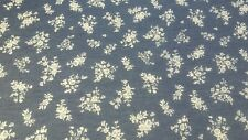 Denim Washed Florals print Cotton and poly fabric, Navy Blue color, by the yard