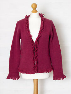 Boden M Pink Chunky Knit Pure Lambswool Cardigan w Fringe Trim