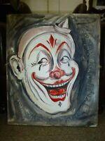 Original Enjoy Insanity Pea Jayne Restall Painting Clown Fairground Painting Art