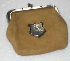 ANTIQUE EDWARDIAN 1905 CHESTER STERLING SILVER SHIELD MOUNT LEATHER SUEDE PURSE