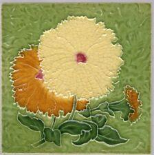Mintons, Ltd - c1896 - Yellow & Orange-Amber Floral - Antique Majolica Tile