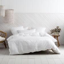 Deco Linen House Cameron White Double Bed Size Duvet Doona Quilt Cover Set