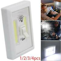2X/4X COB LED Battery Operated Wall Switch Night Light Cordless Bright Adhesive