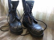 Black Dr Doc Martens 10 Eye Vintage Distressed Leather  Platform Boots UK 6