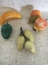 Lot 5 Vintage Pieces Italian Alabaster Marble Stone Fruit Peach Pear Banana