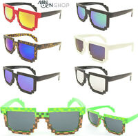 8 Bit Pixel CPU Pixelated Geek Novlety Sunglasses Vintage Unisex Clear Lens