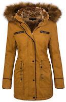 damas invierno chaqueta mujer abrigo parka con capucha cuello de piel d-214